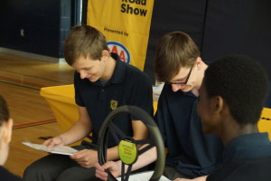 Students participating in the drowsy driving activity. Photo by Durham Catholic District School Board.